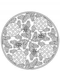 Елочные украшения с шарами и веточками Детские раскраски зима распечатать