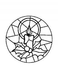 Елочные украшения, шар с мозайкой в виде свечи Детские раскраски зима распечатать