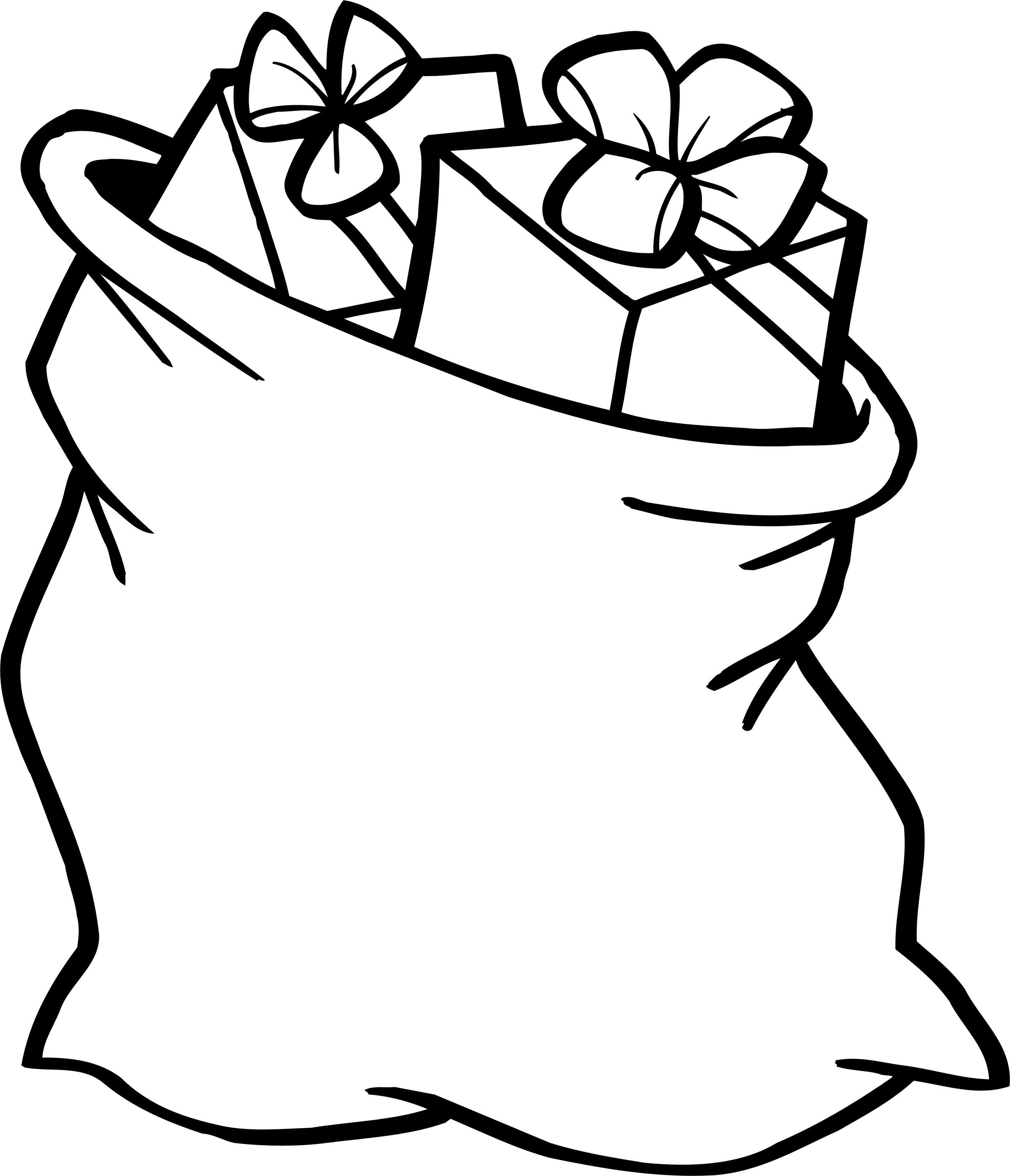 Мешок с подарками Раскраска сказочная зима