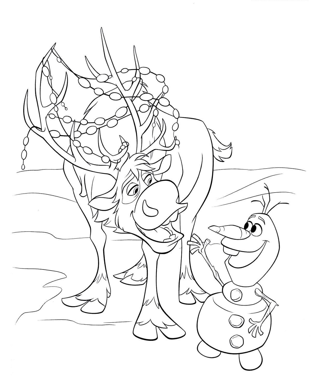 Снеговик олаф и олень Детские раскраски зима распечатать