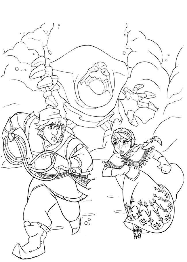 Побег от снежного чудовища Зимние раскраски для мальчиков