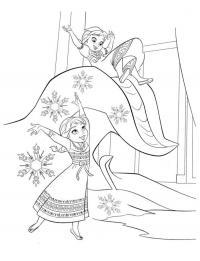 Принцессы играют Зимние раскраски для мальчиков