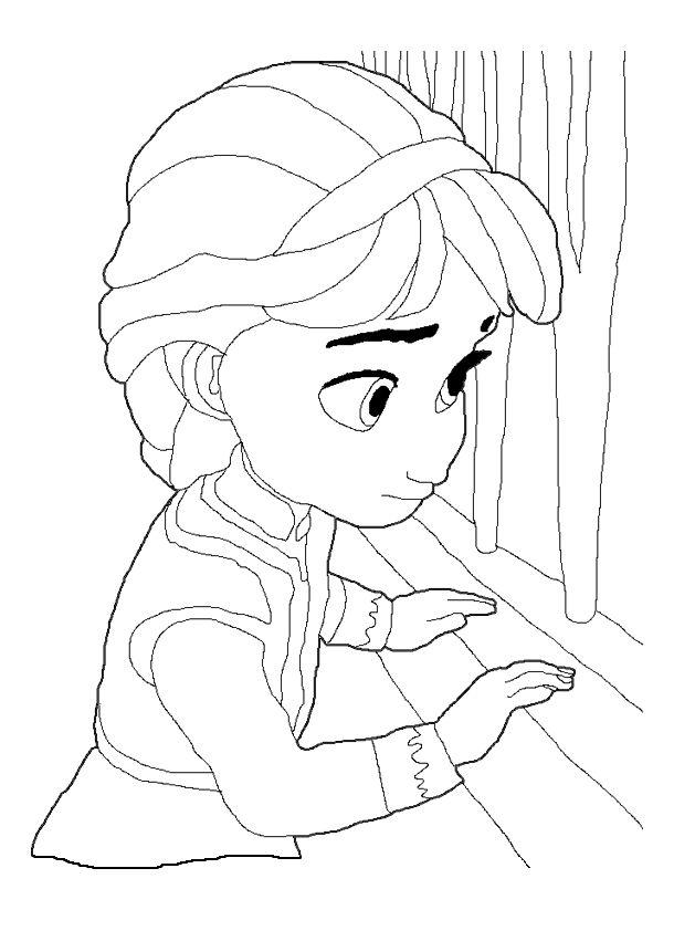 Девочка смотрит в окно Раскраски зимушка зима