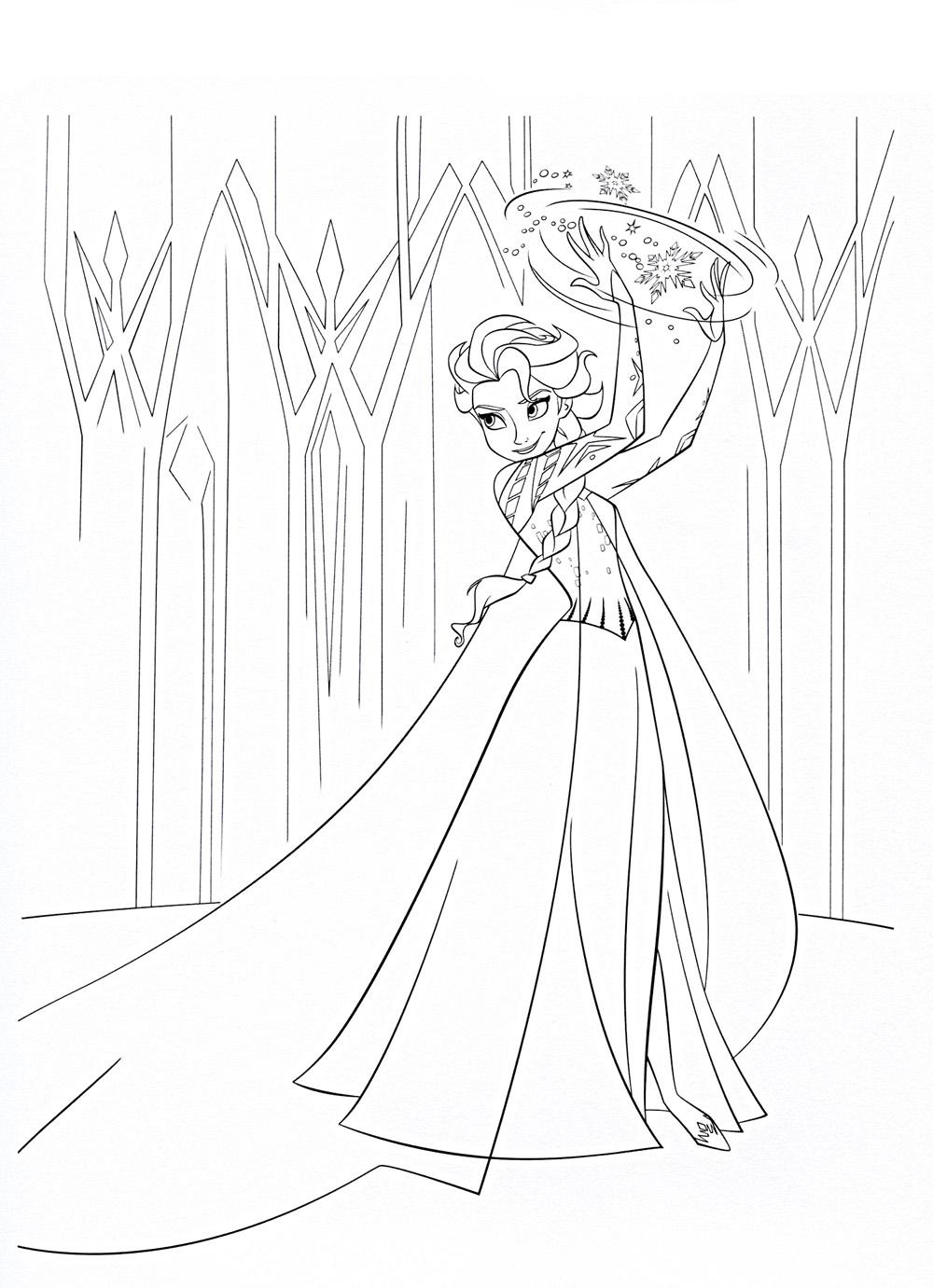 Принцесса колдует Зимние рисунки раскраски