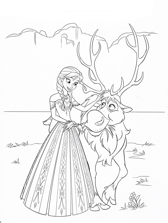 Принцесса с оленем Раскраска зима распечатать