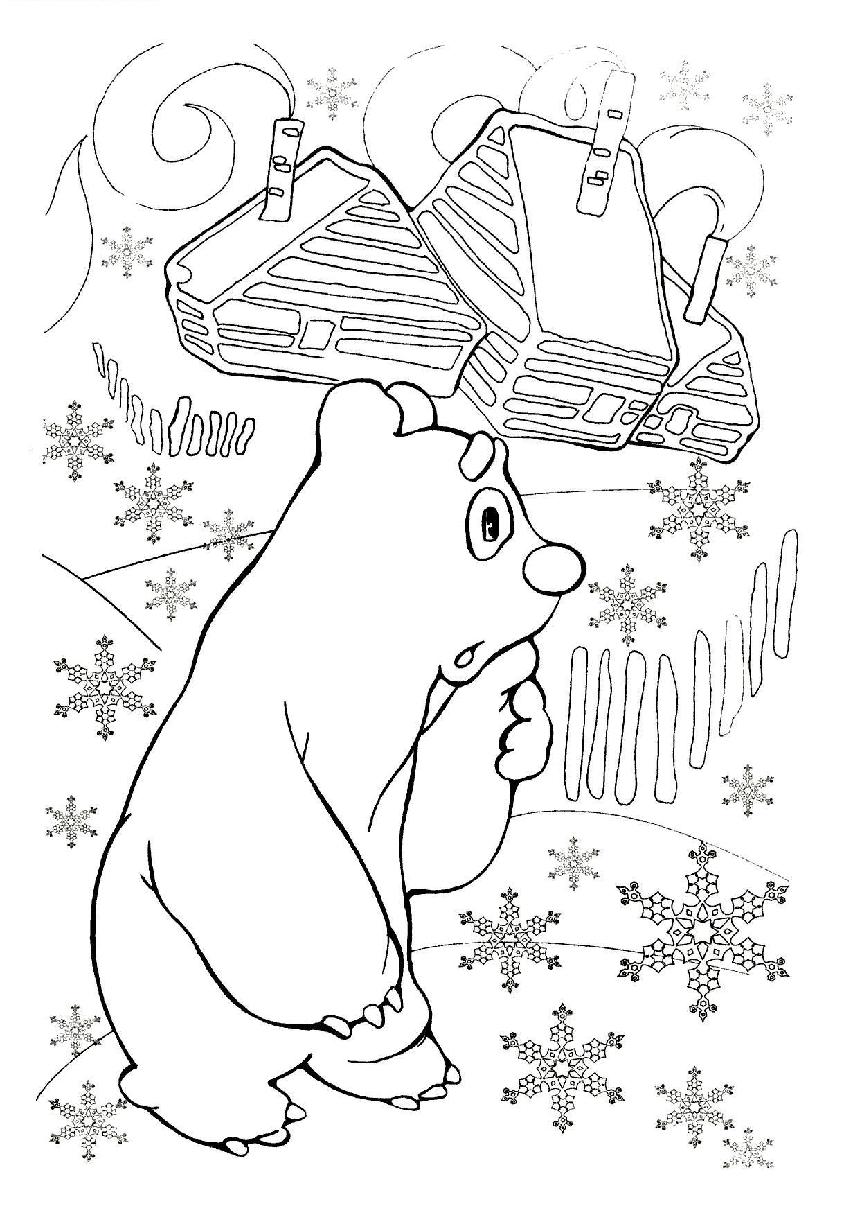 Умка на севере вокруг снежинки Раскраски зимушка зима