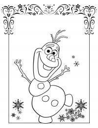 Снеговик олаф для открытки Зимние раскраски для малышей