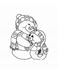 Снеговички обнимаются Рисунок раскраска на зимнюю тему