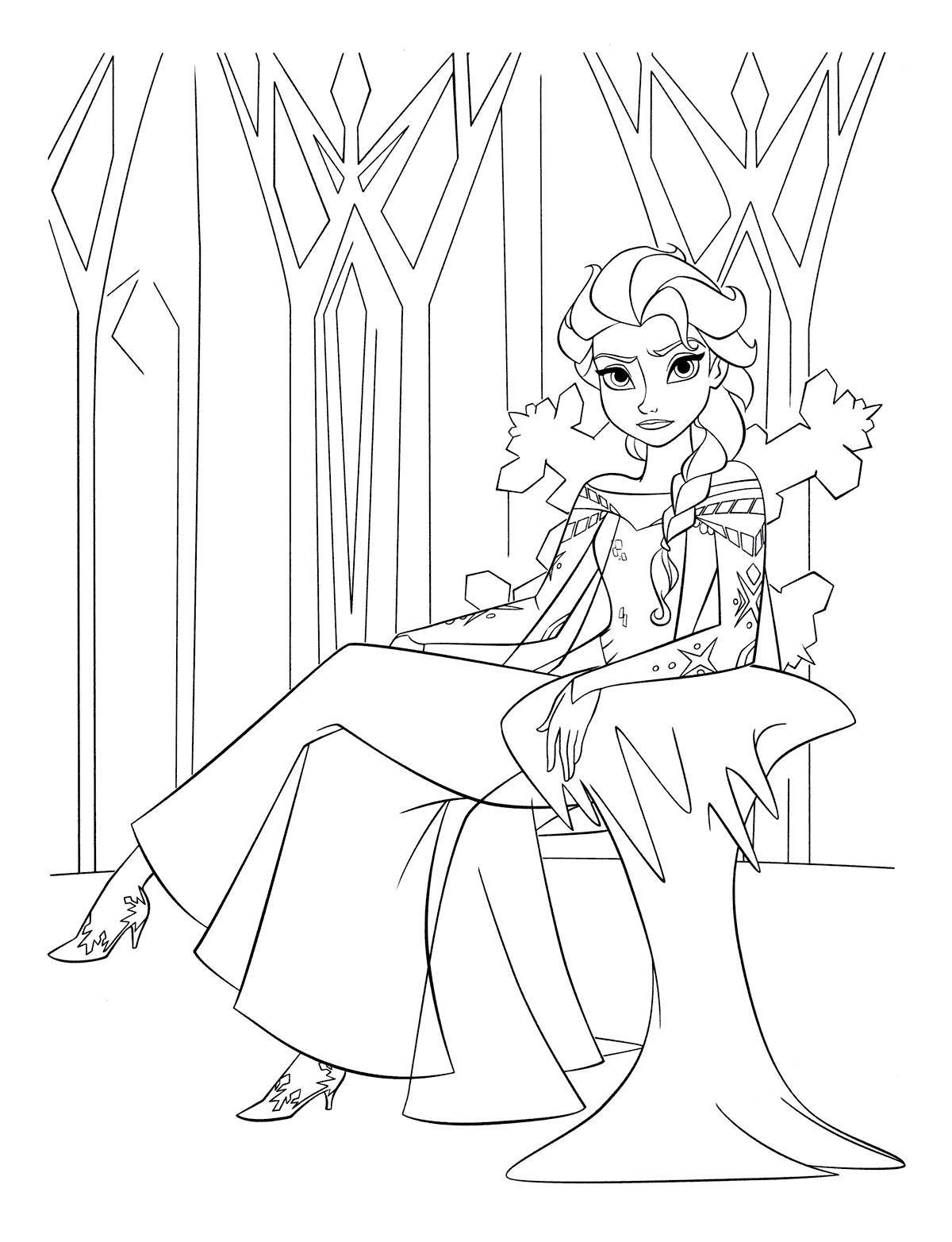 Принцесса на троне ледяного замка Зимние раскраски для мальчиков