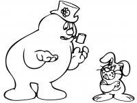 Снеговик с трубкой и злой заяц Рисунок раскраска на зимнюю тему