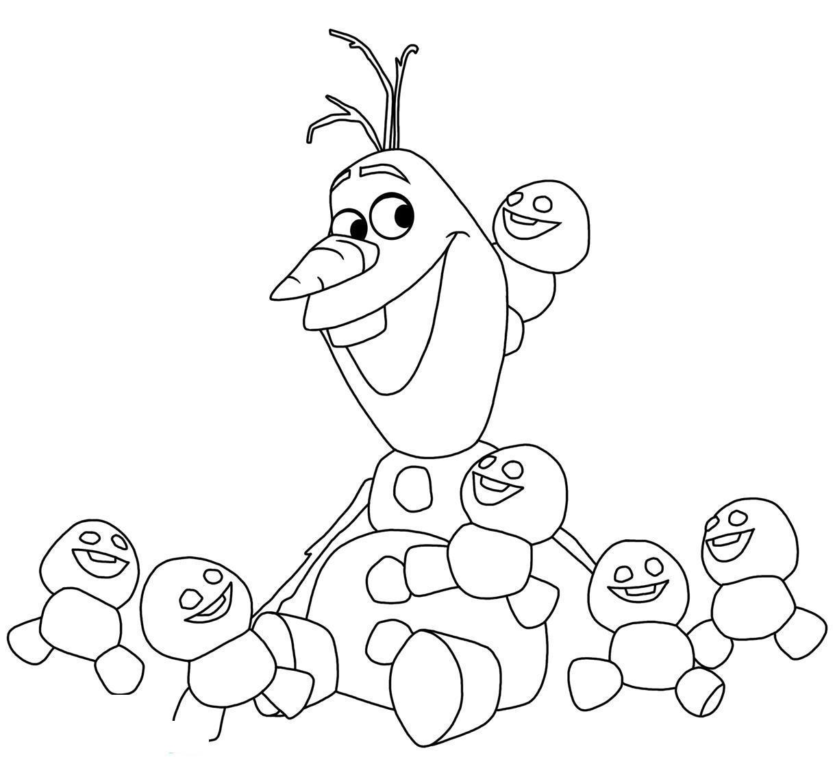 Снеговик олаф со снеговичатами Раскраска зима пришла