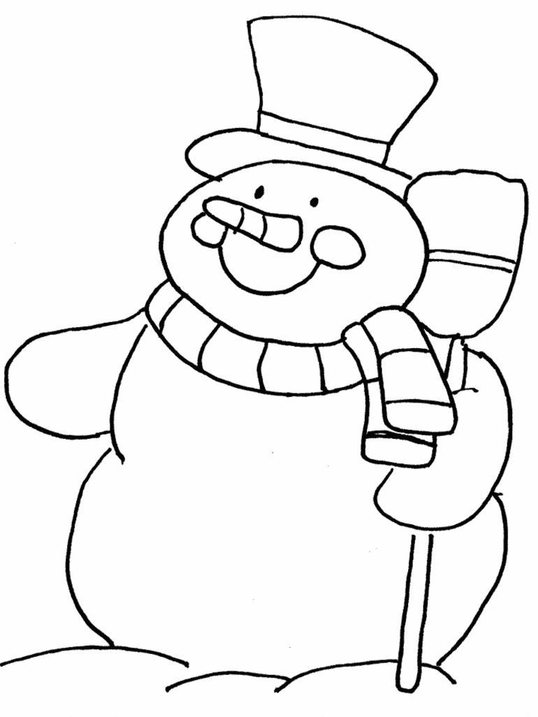 Толстый снеговик Рисунок раскраска на зимнюю тему