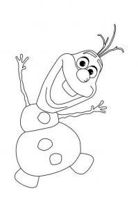 Танцующий снеговик олаф Раскраска зима пришла