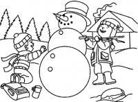 Изры возле снеговика Рисунок раскраска на зимнюю тему
