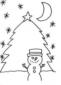 Снеговик ночью возле елки Рисунок раскраска на зимнюю тему