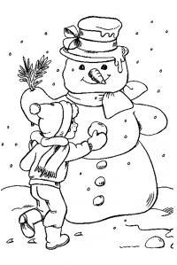 Мальчик лепит снеговика Рисунок раскраска на зимнюю тему