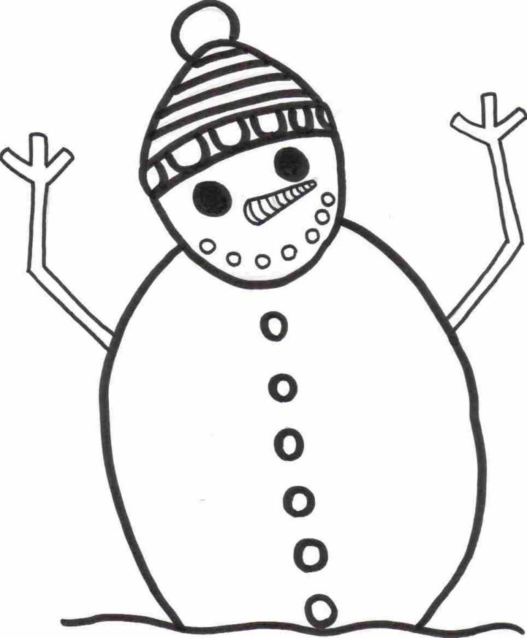 Страшный снеговик Рисунок раскраска на зимнюю тему