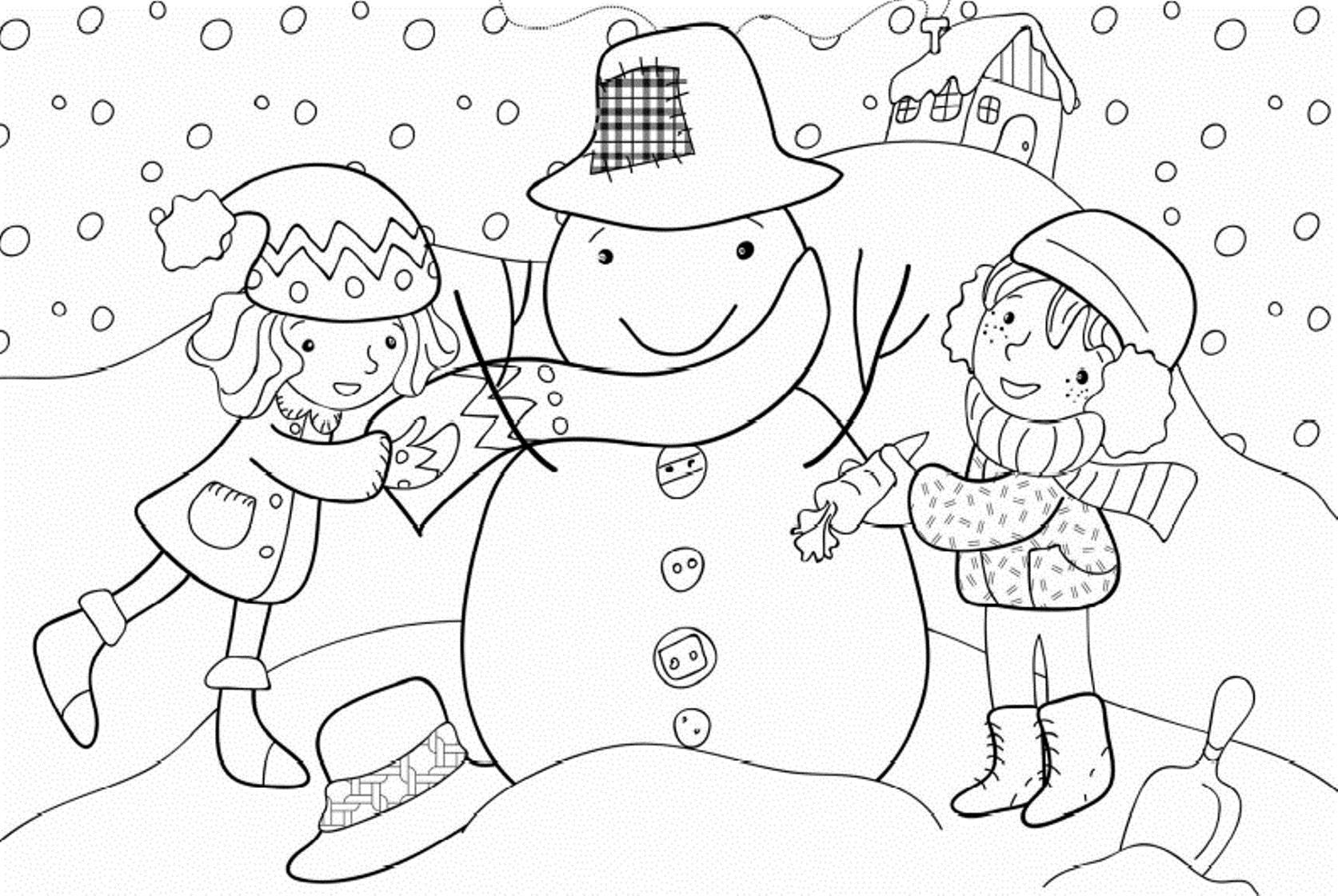 Девочки лепят снеговика Рисунок раскраска на зимнюю тему