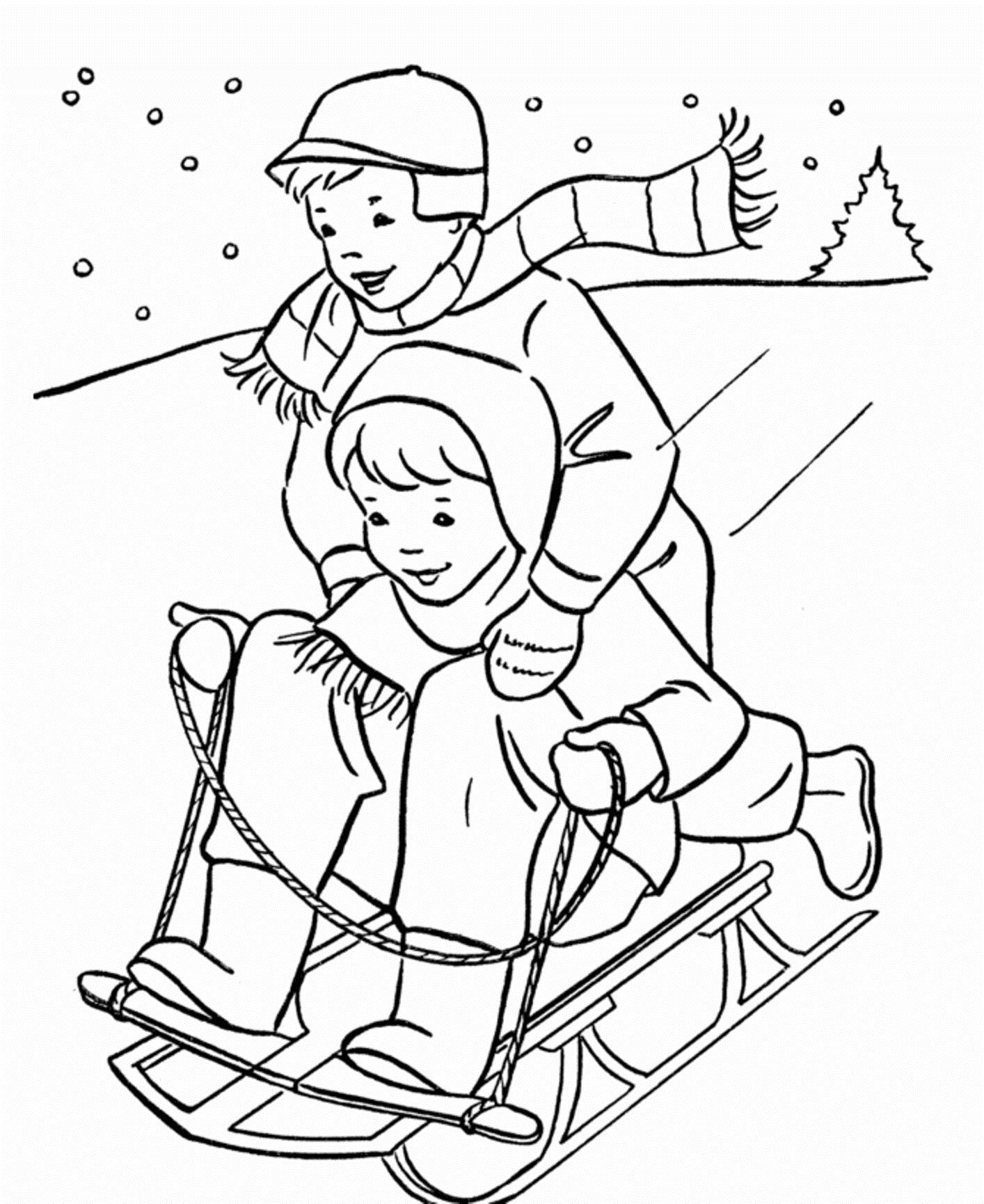Катаемся на санках Раскраска зима распечатать