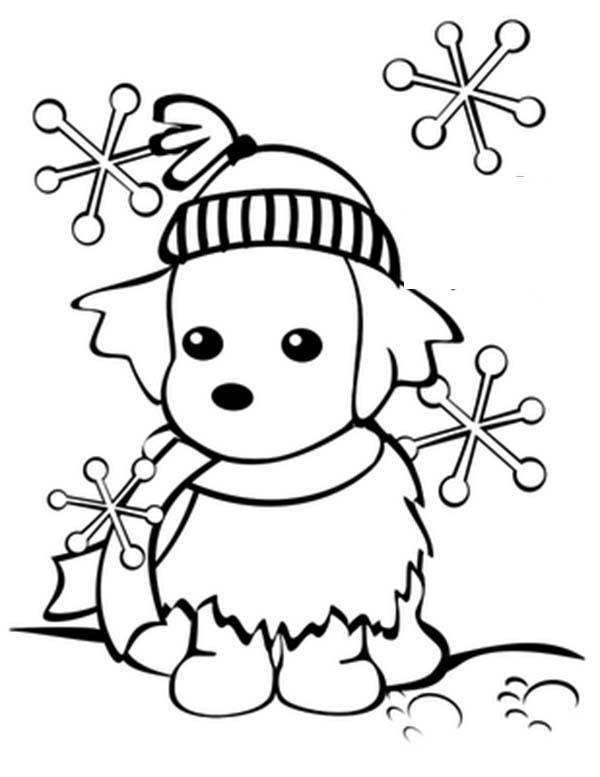 щенок в снежинках собака раскраска сказочная зима
