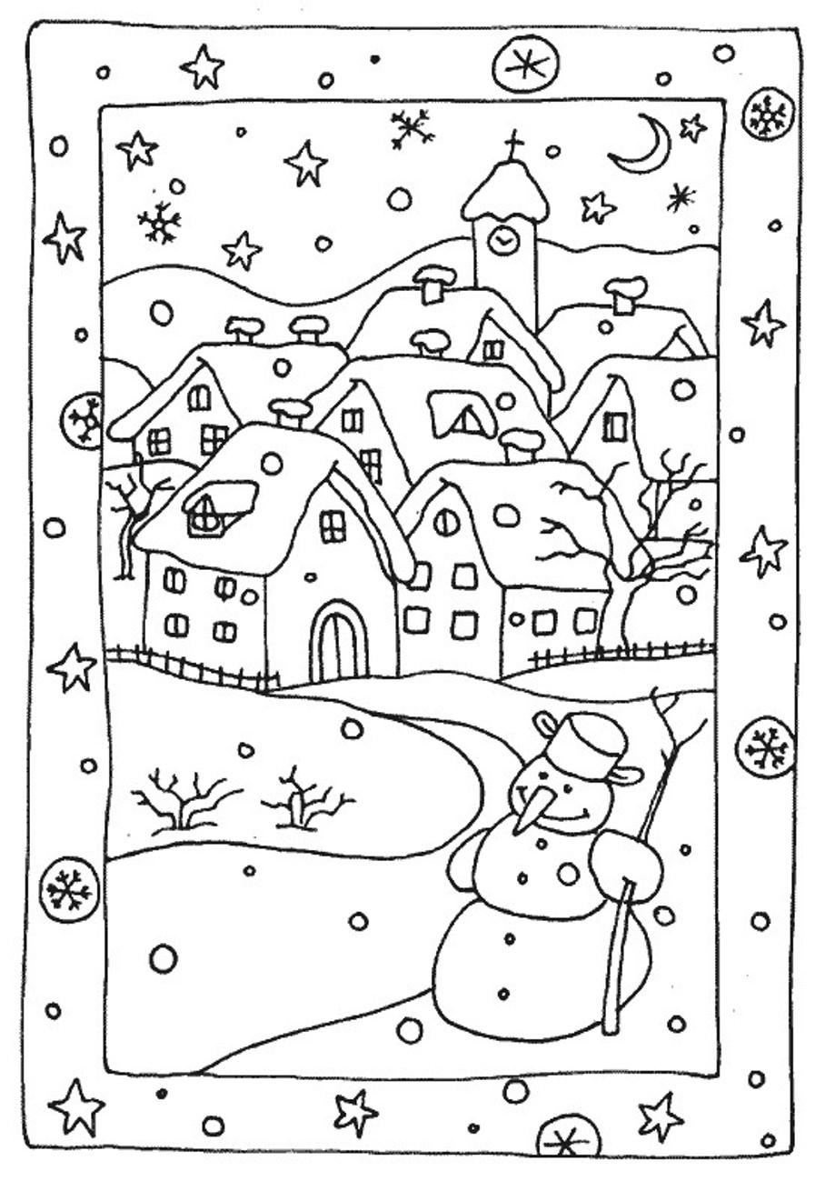 Город снеговик Зимние раскраски для малышей