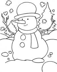 Снеговик в лесу Рисунок раскраска на зимнюю тему