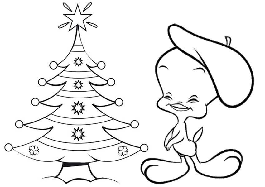 Новогодние открытки с елочкой и утенком Зимние раскраски для мальчиков