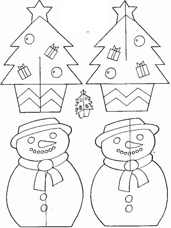 Новогодние открытки с елочкой и снеговиком Зимние раскраски для мальчиков