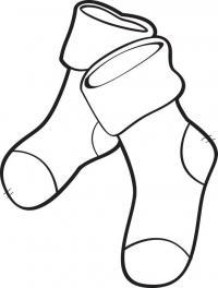 Рождественские чулки, носки, сапожки для подарков Раскраски зима распечатать бесплатно