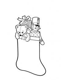 Рождественские сапожки для подарков Раскраски зима распечатать бесплатно