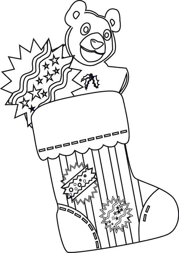Рождественские носки для подарков с медвежонком Раскраски зима распечатать бесплатно