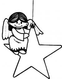 Ангел на звездочке Детские раскраски зима распечатать