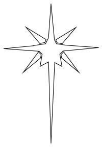 Удлиненная звезда Рисунок раскраска на зимнюю тему