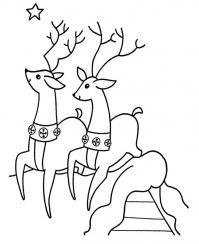Бегущие олени Детские раскраски зима распечатать