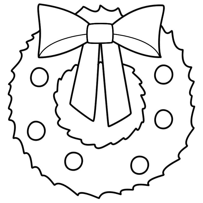 Новогодний рождественский венок шаблон для открытки Раскраска сказочная зима