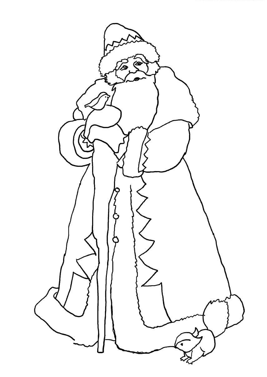 Дед мороз и зверята Детские раскраски зима распечатать