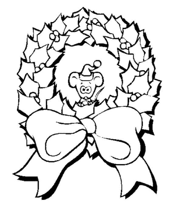 Новогодний рождественский венок с мышонком Зимние рисунки раскраски