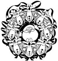 Новогодний рождественский венок с санта клаусом и оленями Зимние рисунки раскраски