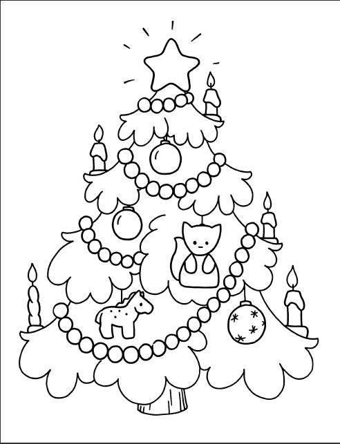 Наряженная елка Зимние раскраски для девочек