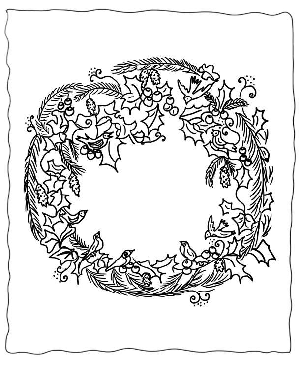 Рождественский венок с птицами и ягодами Зимние рисунки раскраски