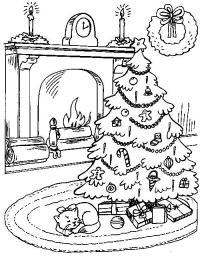 Елка с подарками возле камина Детские раскраски зима распечатать