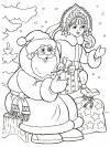 Дед мороз и снегурочка дарят подарки Раскраски зимушка зима