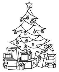 Елка с подарками на открытку Зимние раскраски для малышей