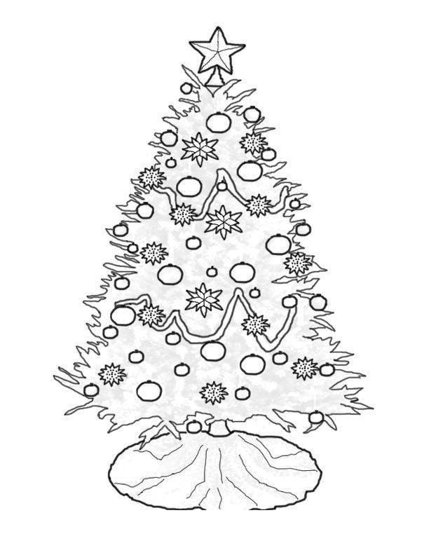Елка со звездой на макушке Раскраски на тему зима