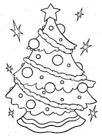 Елка с сияющими звездами вокруг нее Раскраска сказочная зима