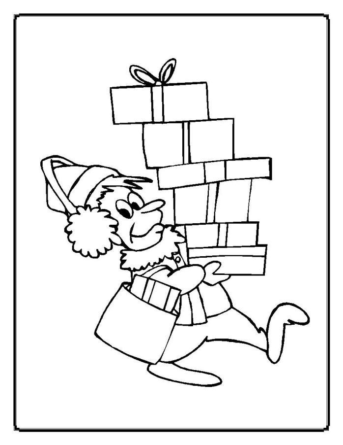 Человек с подарками Раскраска сказочная зима