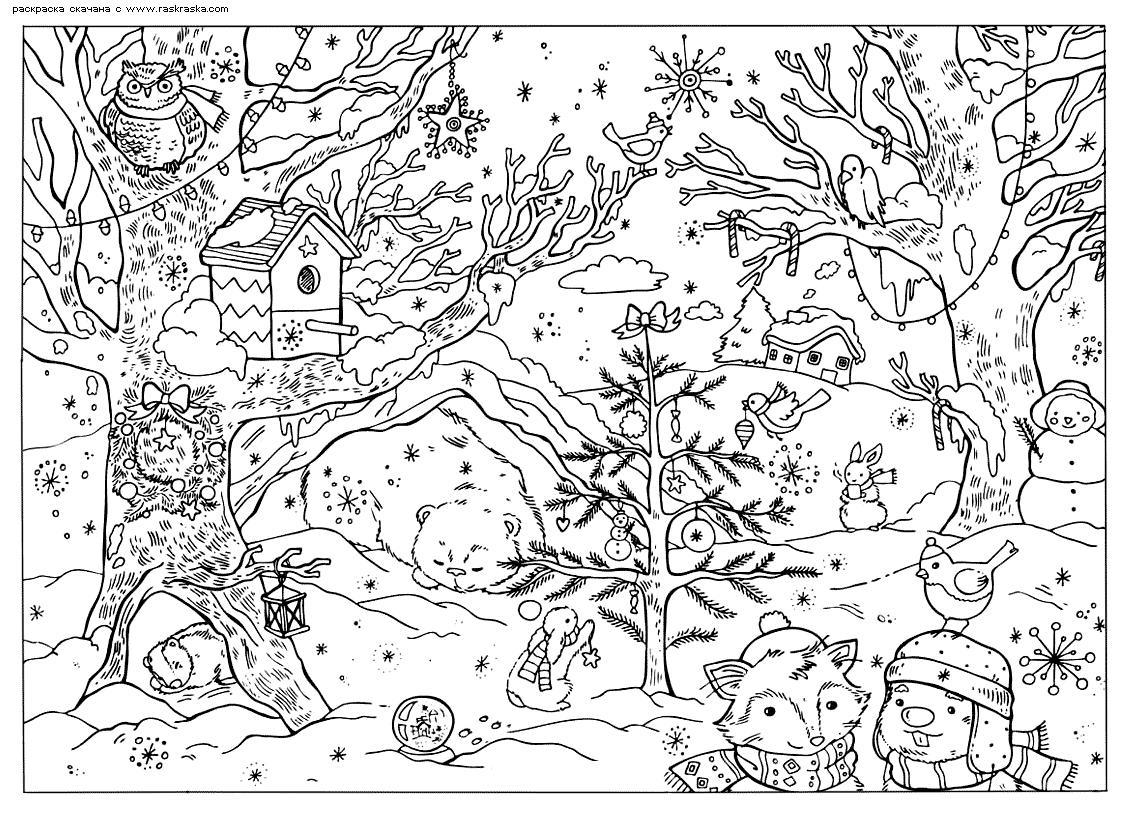 Зима в лесу, звери готовятся к новому году Детские раскраски зима распечатать