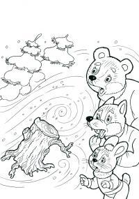 Вьюга в лесу Детские раскраски зима распечатать