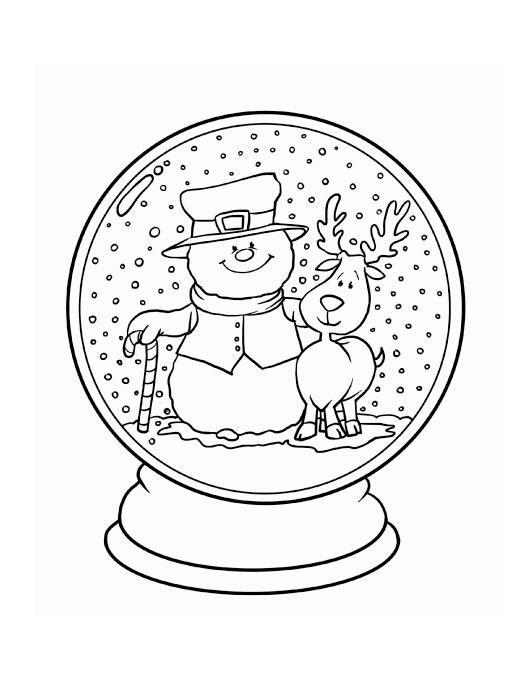 Снеговик с оленем в снежном шаре Раскраски зима распечатать бесплатно