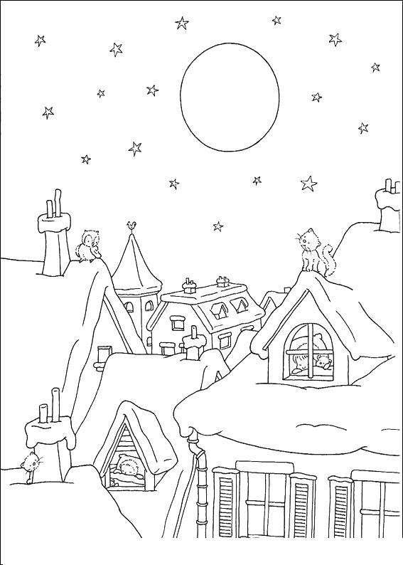 Зима в городе, кот сидит на крыше Раскраски зима распечатать бесплатно